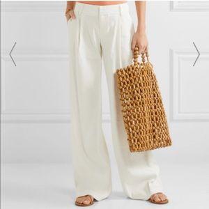 Alice + Olivia Wilde leg linen pant in white. EUC!